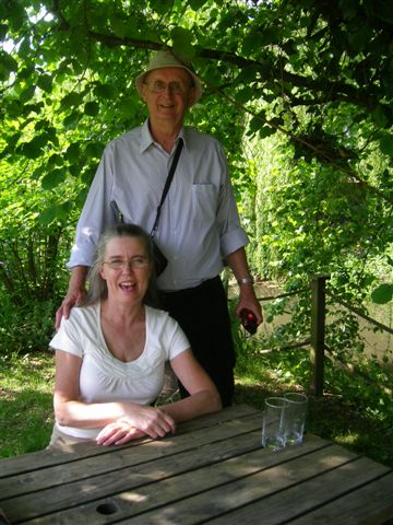 Terry and Claudia Boorman in pub garden near Great Wishford England